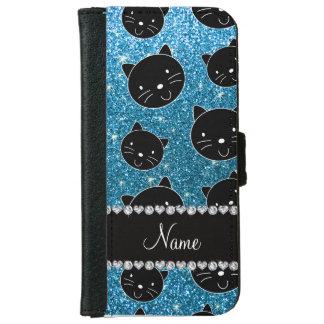 Custom name sky blue glitter black cat faces iPhone 6/6s wallet case
