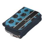 Custom name sky blue glitter black cat faces wallets