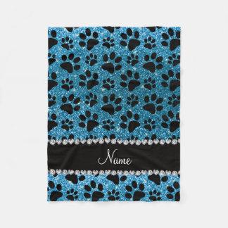 Custom name sky blue glitter black dog paws fleece blanket
