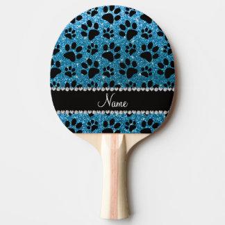 Custom name sky blue glitter black dog paws Ping-Pong paddle