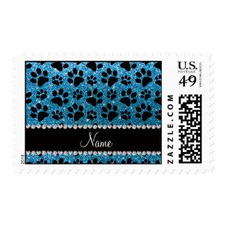 Custom name sky blue glitter black dog paws postage