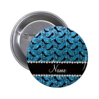 Custom name sky blue glitter black high heels bow pinback buttons