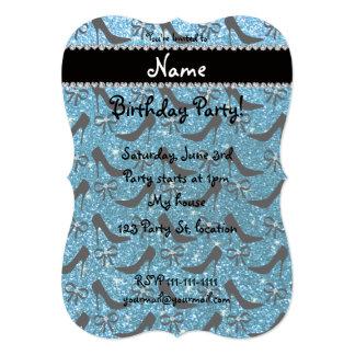 Custom name sky blue glitter black high heels bow card