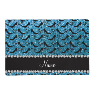 Custom name sky blue glitter black high heels bow laminated place mat