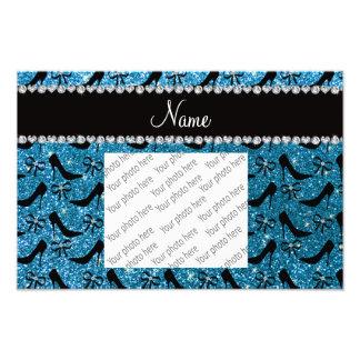 Custom name sky blue glitter black high heels bow art photo