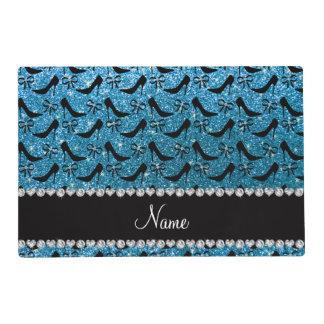Custom name sky blue glitter black high heels bow placemat