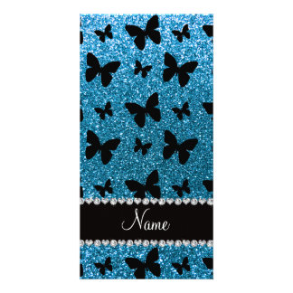 Custom name sky blue glitter butterflies photo card
