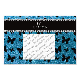 Custom name sky blue glitter butterflies photographic print