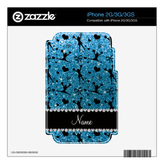 Custom name sky blue glitter cheerleading decal for the iPhone 3GS