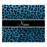 Custom name sky blue glitter cheetah print