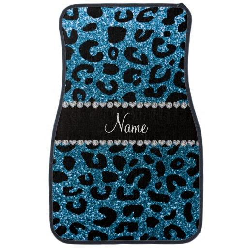 Custom Name Sky Blue Glitter Cheetah Print Car Floor Mat