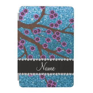 Custom name sky blue glitter cherry blossoms iPad mini cover
