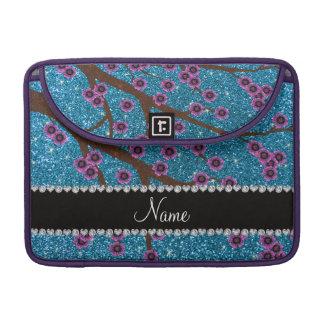 Custom name sky blue glitter cherry blossoms MacBook pro sleeves