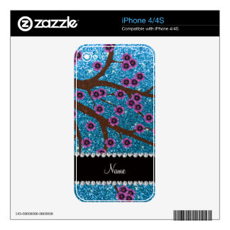 Custom name sky blue glitter cherry blossoms decal for iPhone 4
