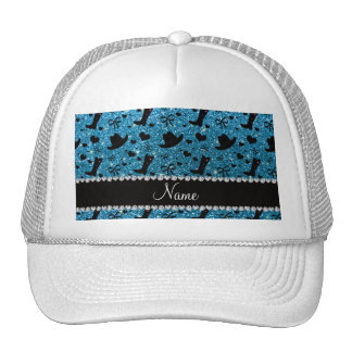 Custom name sky blue glitter cowboy boots hats