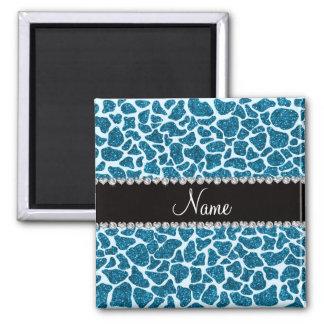 Custom name sky blue glitter giraffe 2 inch square magnet