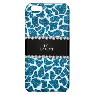 Custom name sky blue glitter giraffe iPhone 5C cover