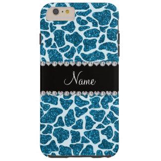 Custom name sky blue glitter giraffe tough iPhone 6 plus case