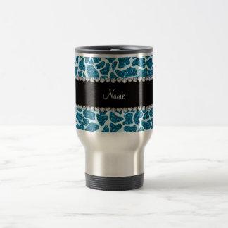Custom name sky blue glitter giraffe travel mug
