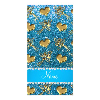 Custom name sky blue glitter gold roses hearts photo card