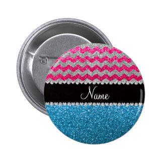 Custom name sky blue glitter pink glitter chevrons 2 inch round button