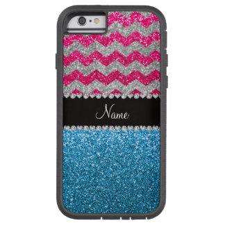 Custom name sky blue glitter pink glitter chevrons tough xtreme iPhone 6 case