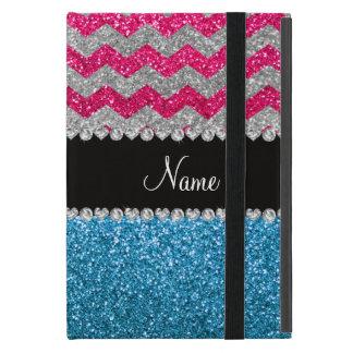 Custom name sky blue glitter pink glitter chevrons cover for iPad mini