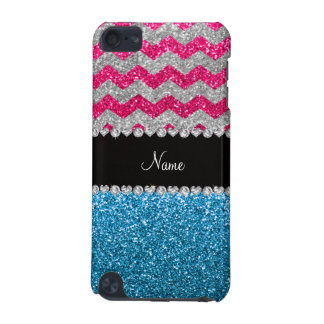 Custom name sky blue glitter pink glitter chevrons iPod touch (5th generation) cover