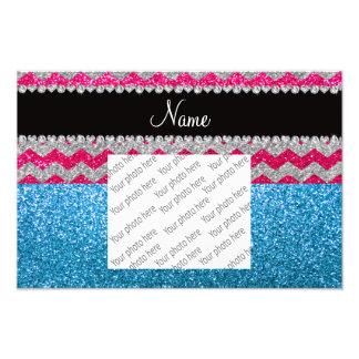Custom name sky blue glitter pink glitter chevrons photo print