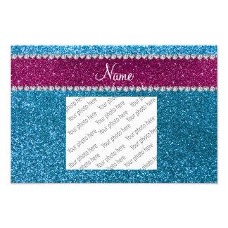 Custom name sky blue glitter pink stripe photo print