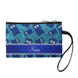 Custom name sky blue glitter police box coin wallets