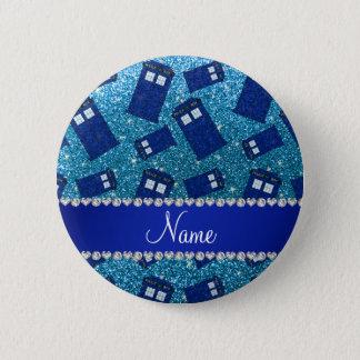 Custom name sky blue glitter police box button