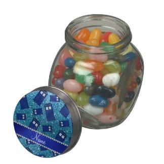 Custom name sky blue glitter police box jelly belly candy jar