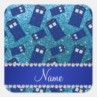 Custom name sky blue glitter police box square stickers