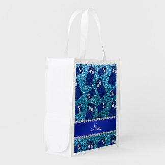 Custom name sky blue glitter police box grocery bag