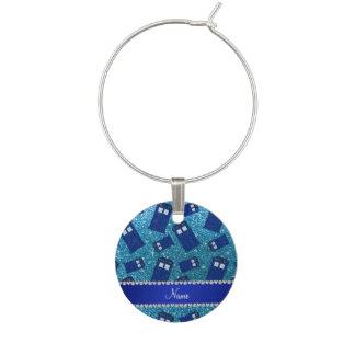 Custom name sky blue glitter police box wine glass charms