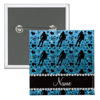 Custom name sky blue glitter roller derby button