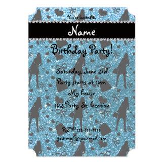 Custom name sky blue glitter shopping 5x7 paper invitation card