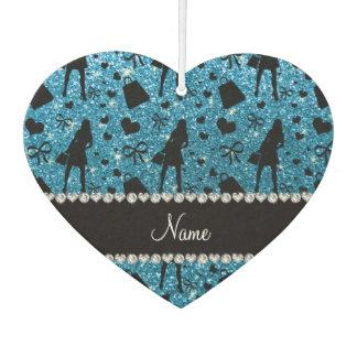 Custom name sky blue glitter shopping