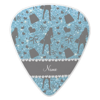 Custom name sky blue glitter shopping white delrin guitar pick