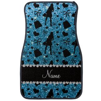 Custom name sky blue glitter shopping floor mat