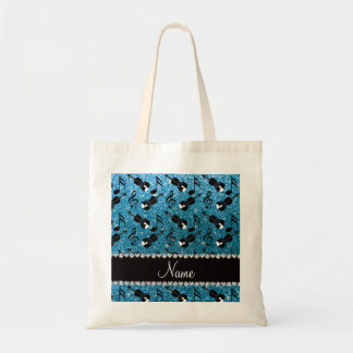 Custom name sky blue glitter violins music notes tote bag
