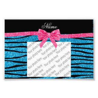 Custom name sky blue glitter zebra stripes bow photo print