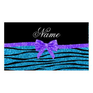 Custom name sky blue glitter zebra stripes purple business card