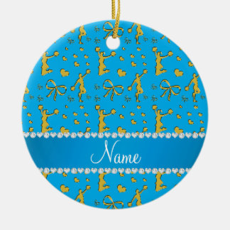 Custom name sky blue gold cheerleading bows hearts ceramic ornament