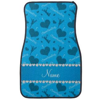 Custom name sky blue i love cheerleading hearts car floor mat