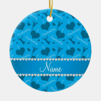 Custom name sky blue i love cheerleading hearts ceramic ornament