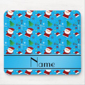 Custom name sky blue lacrosse christmas pattern mousepad