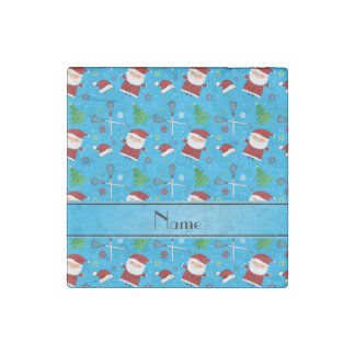 Custom name sky blue lacrosse christmas pattern stone magnet