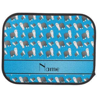 Custom name sky blue Old English Sheepdog dogs Car Floor Mat